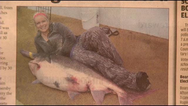 Grove Woman Fishes 110-Pound Spoonbill Out Of Grand Lake