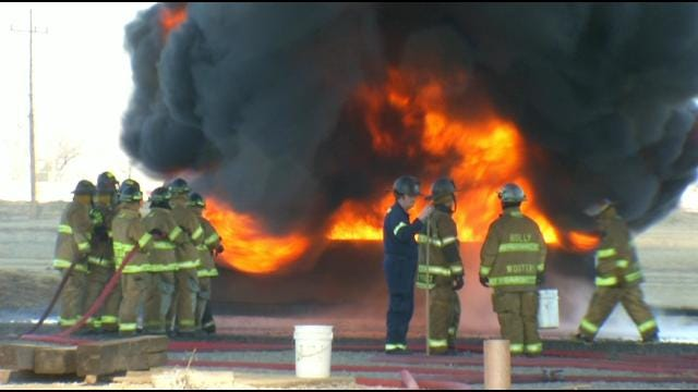 Flames, Smoke From Tulsa Refinery Part Of Training For Area Firefighters