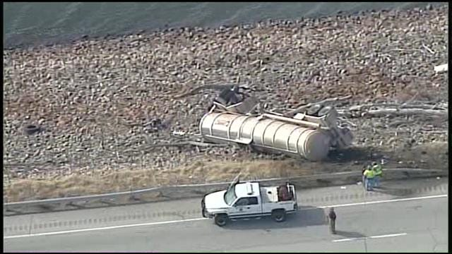 WEB EXTRA: SkyNews6 View Of Overturned Crude Oil Tanker
