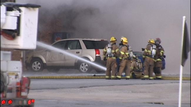 WEB EXTRA: Video From Scene Of Owasso Business Mall Fire