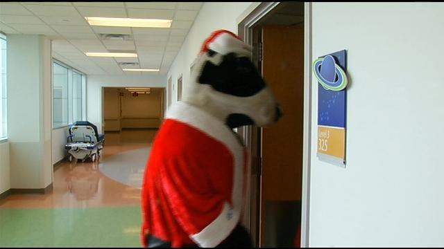 Chick Fil A Cows Visit Patients Of Children's Hospital At Saint Francis
