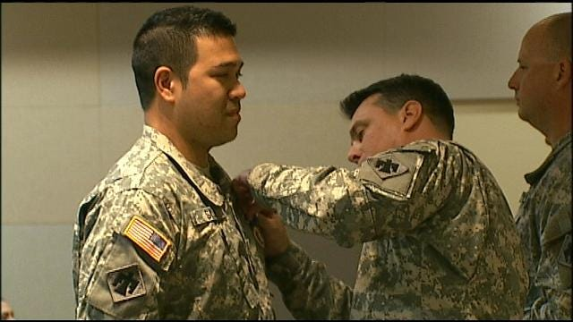 2 Oklahoma Guardsmen Surprised With Purple Heart Ceremony