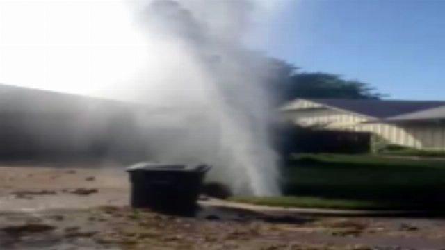 WEB EXTRA: High Pressure Water Line Break In East Tulsa