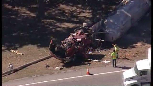 SkyNews6: Semi Wrecks Near Oologah Lake Dam On State Highway 88