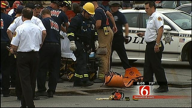 Tulsa Firefighters Pull Naked Man From Storm Drain