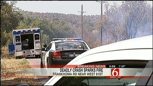 Two People Dead After Truck Collides With Utility Pole, Sparks Grass Fire