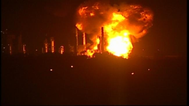 WEB EXTRA: Video Of HollyFrontier Refinery Fire In West Tulsa