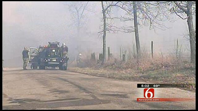 Firefighters Battle Mile Long Grass Fire In Rogers County