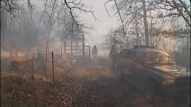 WEB EXTRA: Video From Okmulgee County Grass Fire Monday Afternoon