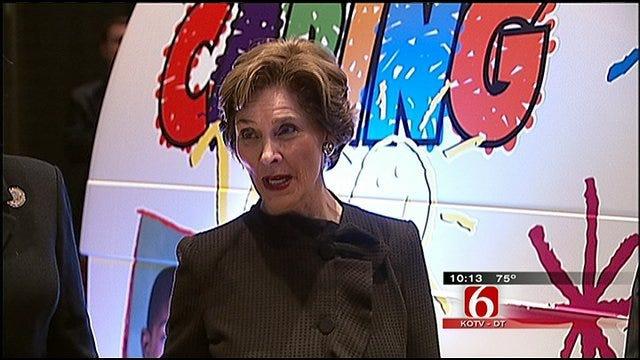 Laura Bush Praises 'Caring Van' Program During Tulsa Visit