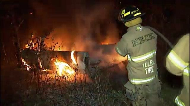 WEB EXTRA: Tulsa Firefighters Working To Extinguish Pickup Truck Fire