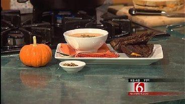 Mimolette And Black Olive Panini & Pumpkin Soup