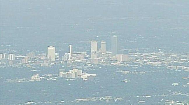 SKYNEWS6 Flies Through Tulsa Haze From Camp Gruber Fire