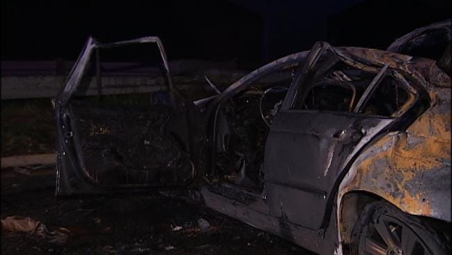 WEB EXTRA: Male Driver Killed In Fiery Tulsa Wreck