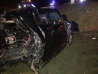 WEB EXTRA: Video From Scene Of Fatal Crash On Creek Turnpike Early Wednesday