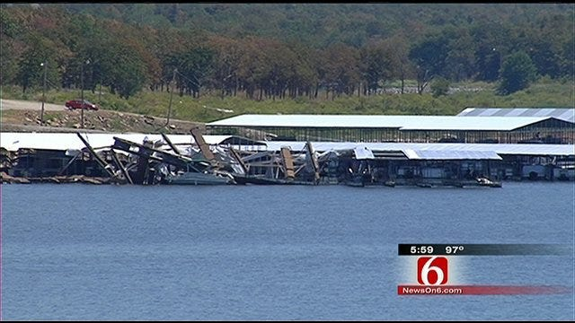 Storms Damage Boat Slips At Keystone Lake