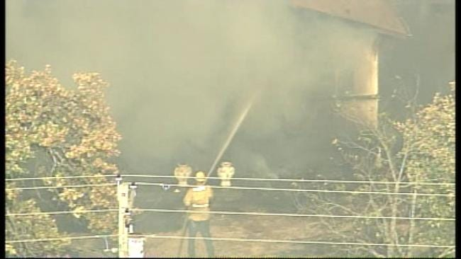 WEB EXTRA: SkyNews 6 Captures Home Going Up In Flames Near Mannford