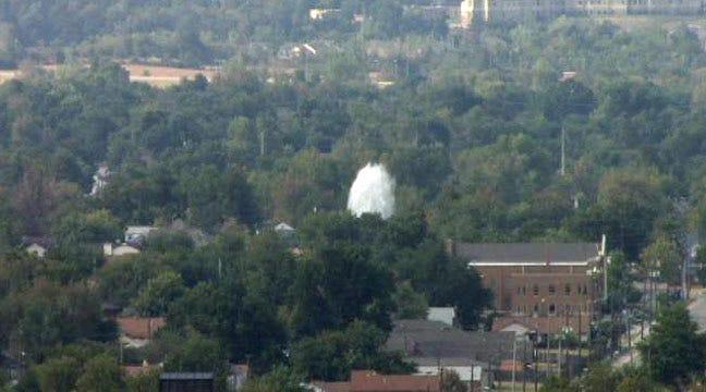 WEB EXTRA: Main Break Shoots Water Over Tulsa Intersection