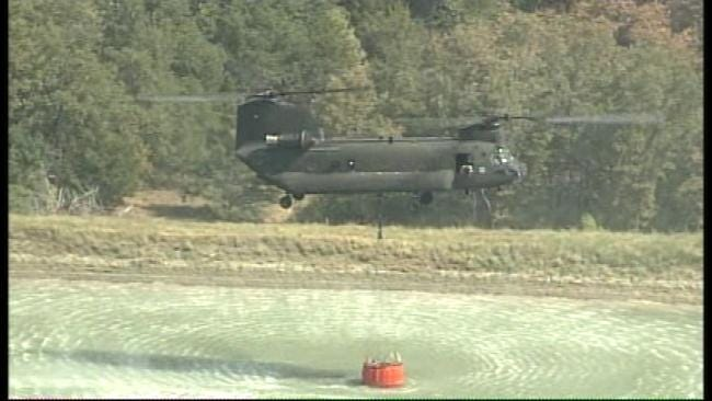 SkyNews6: Chinook Helicopter Drops Water On Wildfire