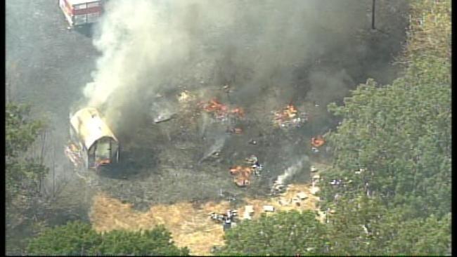 WEB EXTRA: SkyNews6 Flies Over Grass Fire Near Sapulpa