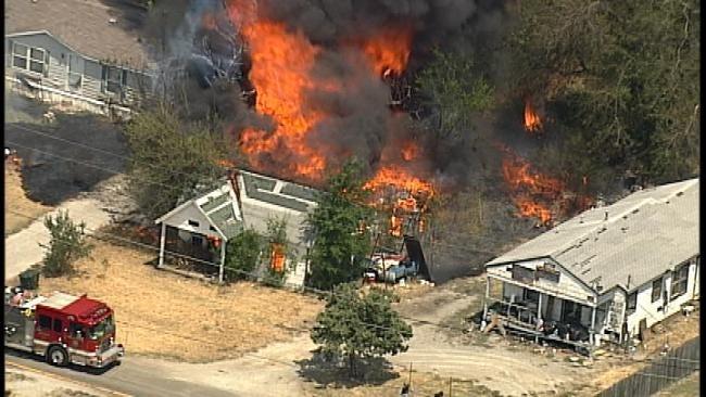 WEB EXTRA: SkyNews6 Flies Over Turley Fire