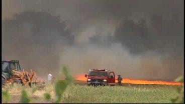 WEB EXTRA: Grass Fire Rages Near Turley