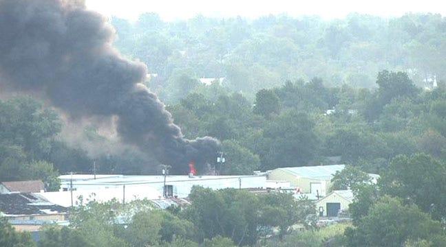 North Tulsa Tire Fire Captured On SkyCam Network