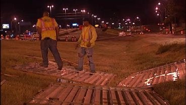WEB EXTRA: Video From Construction Work On I-44 At Peoria Overnight