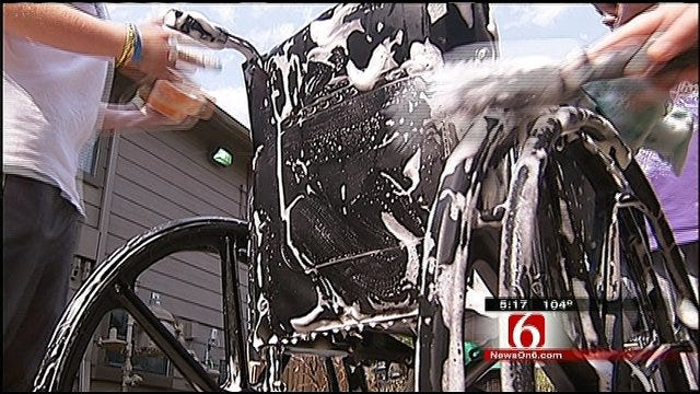 Wheelchair Wash Brings Joy To Tulsa Assisted Living Center Residents