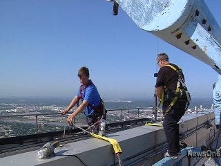 Williams Tower Window Washers View Tulsa from Above