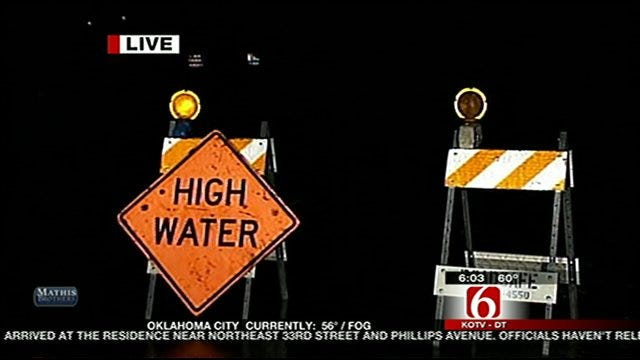 High Water Signs Up Across South Tulsa Monday
