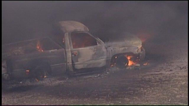 WEB EXTRA: SkyNews6 Flies Over Oil Tank Fire