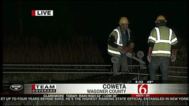Storms Knock Down Power Poles In Coweta