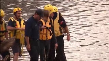 WEB EXTRA: Firefighters Rescue Man Trapped In Arkansas River