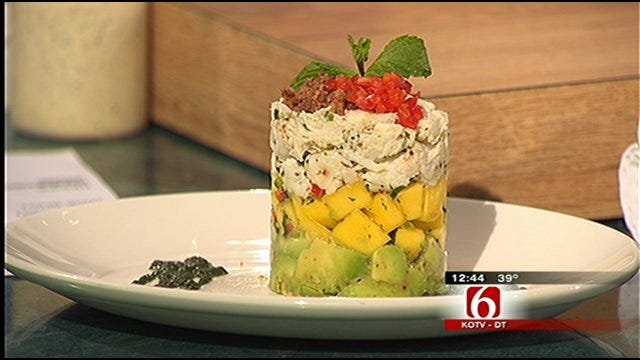 Waterfront Grill's Crab Mango and Avocado Stack With Newport Beach Salad
