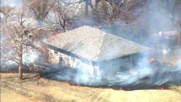 WEB EXTRA: SkyNews9 Flies Over Grass Fire Near Harrah
