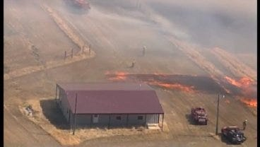 WEB EXTRA: SkyNews6 Flies Over Grass Fire In Creek County
