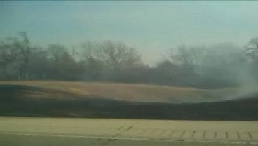 WEB EXTRA: Driver Captures Grassfire Along Turner Turnpike Near Bristow