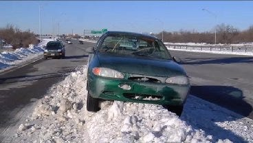 WEB EXTRA: Video Of Car On Top Of A Tulsa Snow Bank