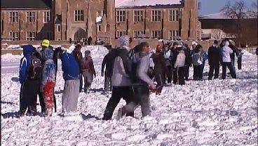 University of Tulsa Students Hold Snowball Fight
