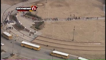 SkyNews 6: Convoy Of Tulsa School Buses As They Leave Schools For County Fairgrounds