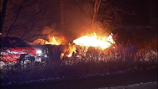 WEB EXTRA: Video From Skiatook House And Mobile Home Fire