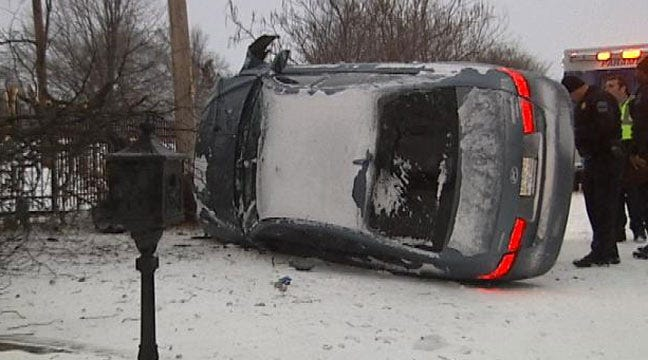 WEB EXTRA: Scene Of Single Car Rollover At 85th And Mingo