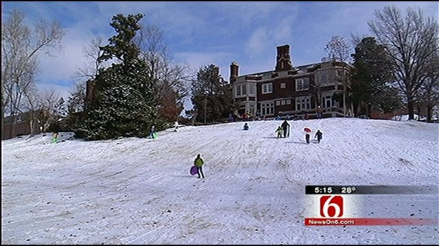 Tulsa Area Kids Enjoy Sledding On The Snow