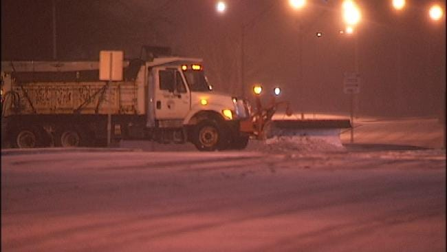 WEB EXTRA: City of Tulsa Sand Truck Clearing Streets