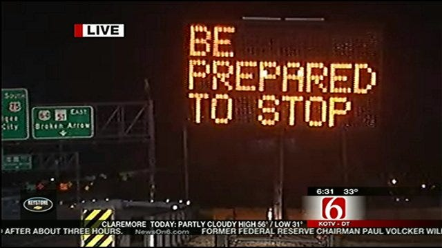 Motorists Encounter Orange Barrels On Tulsa's Broken Arrow Expressway