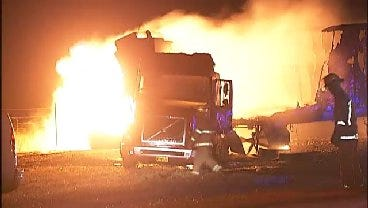 WEB EXTRA: Video From Scene Of Semi Truck Fire Early Friday