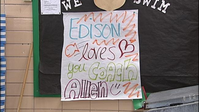 Edison Athletes Take Plunge To Celebrate Swim Coach