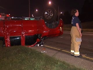 WEB EXTRA: Video From Scene Of Rollover Accident On U.S. HIghway 169
