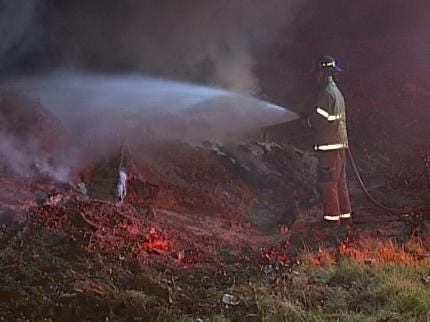 WEB EXTRA: Video Of Tulsa Firefighters Putting Out Brush Pile Fires